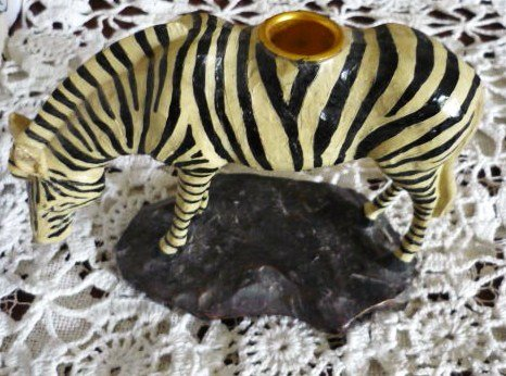 Zebra Tapered Candle Holder ~ Exquisite and Unique