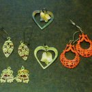 Four Pairs of Holiday Earrings for Pierced Ears - Very Good Cond