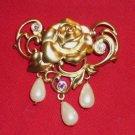 Avon Victorian Rose Pin Brooch New 1992 Gold Tone Faux Pearls Rhinestones Rare