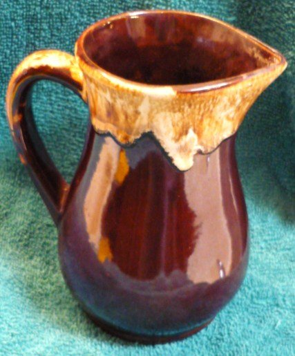 Vintage RRP Co Mirror Brown Drip Pottery Pitcher