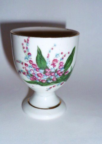 Porcelain Egg Cup Spray of Flowers Design Marked Japan in Red