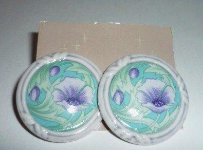 Avon Porcelain Lavender Flower Petals Pierced Earrings NIB 1990