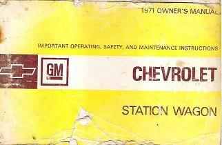 Chevrolet Station Wagon Owners Manual 1971 Original