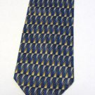 Roundtree and Yorke Silk Tie Blue Brown Gold Handmade