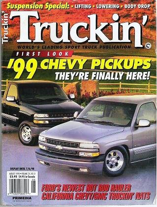 Truckin Magazine August 1998 Fords, Chevys, Suspension Info RARE