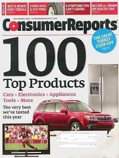 Consumer Reports Magazine November 2008 Cereals Suv Tires McCain - Obama