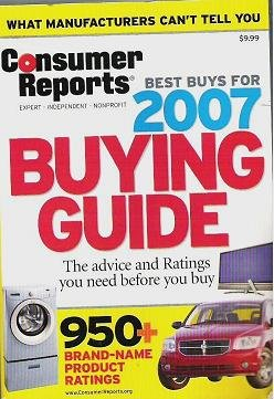 2007 Consumer Reports Buying Guide Best Buys Great Cond