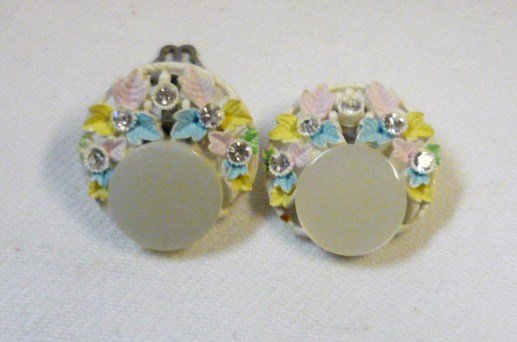 Vintage Pastel Flower with Rhinestones Button Clip On Earrings Japan