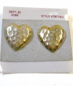 Gold Tone Heart Shaped Earrings Hammered Design