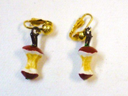 Eaten Apple Clip-On Earrings - Fanciful Design