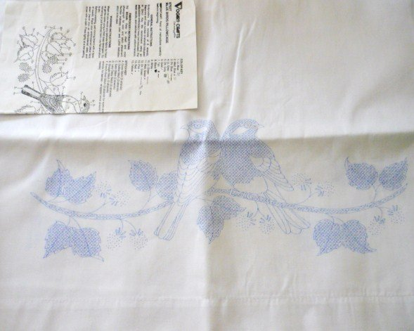Pair of Vintage PillowCases to Embroider Birds Unused Vogart Crafts