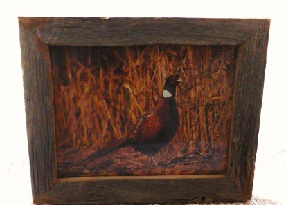 Wood Framed Pheasant in Grass Print Picture w/Glass 10 x 12