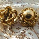 Golden Clip-on Flower Power Earrings 1970s Era