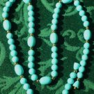 Vintage Aqua Blue 24 inch Necklace Featuring Golden Beads