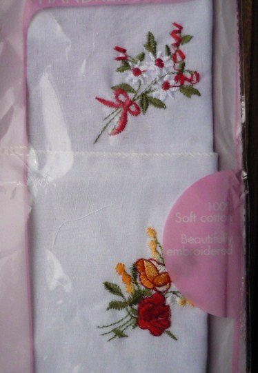 New: Set of 2 Cotton w Flower Embroidery Handkerchiefs