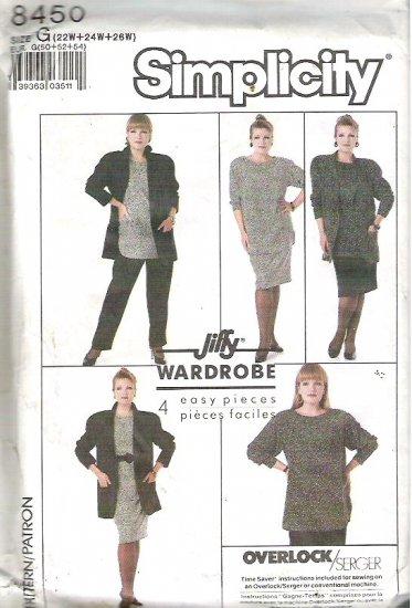 Simplicity Pattern 8450 Jiffy Wardrobe - Uncut - Sz 22w 24w 26w