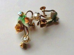 Vintage Austria Screwback Earrings Pearl Rhinestone and Rose w Enamel Leaf