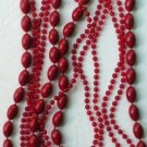 48 Inch Red Plastic Three Row Necklace - Vintage
