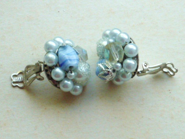 Faux Pearl and Lavender Clip On Earrings Marked Japan Vintage