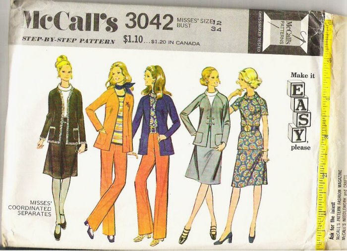 McCalls Pattern 3042 Misses Sz 12 Coordinated Separates