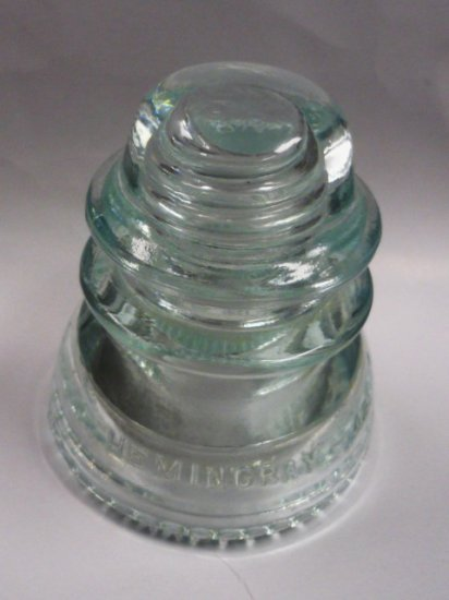 Hemingray 42 Insulator Clear Green Glass Double Petticoat
