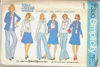 Simplicity Uncut Pattern 7300 Cardigan Top Pants and Skirt Sz 12 1975