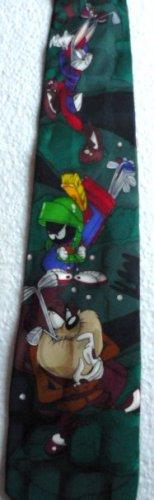 Looney Tunes Necktie Taz Martian Bugs Coyote Golfing 1995 Silk Tie
