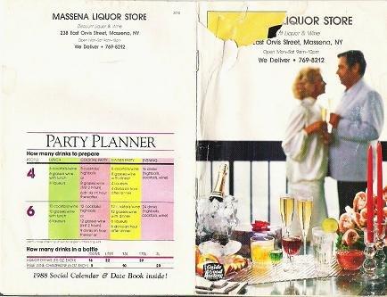 1988 Guide to Good Hosting Party Book Gift Guide Calendar Massena NY Liquor Store