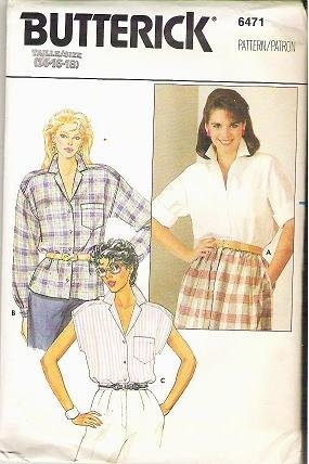 Butterick Uncut Pattern 6471 Three Blouses 1980s Sz 14 16 18
