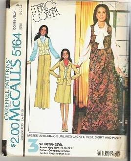 McCalls Uncut Pattern 5164 Sz 8 10 12 Jacket Vest Skirt Pants 1976