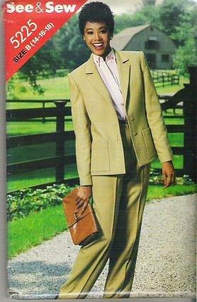 Uncut Butterick See and Sew Uncut Pattern 5225 Jacket Pants Suit Sizes 14 16 18