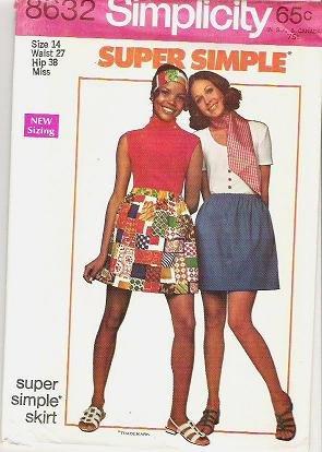 Simplicity Pattern 8632 Uncut Ladies Size 14 Super Simple Skirt 1969