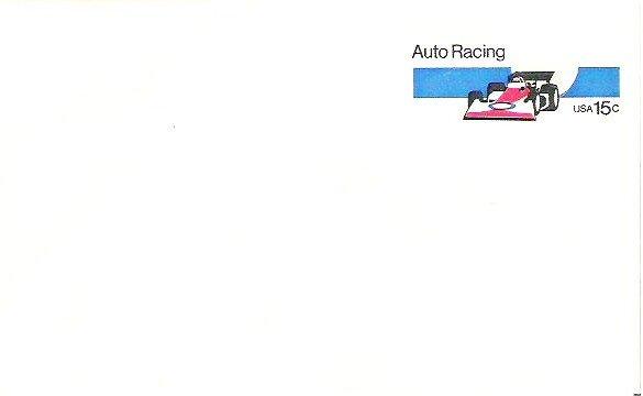 U S P S 15 Cent Auto Racing Envelope 1978