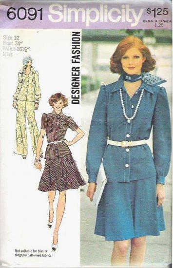 Uncut 1973 Simplicity Pattern 6091 Sz 12 Dress Skirt and Pants Suit