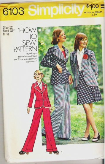 Uncut Simplicity Pattern 6103 Size 12 Jacket Skirt and Pants 1973