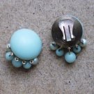 Vntg Large Round Blue Green Clip-On Earrings Featuring Dangles