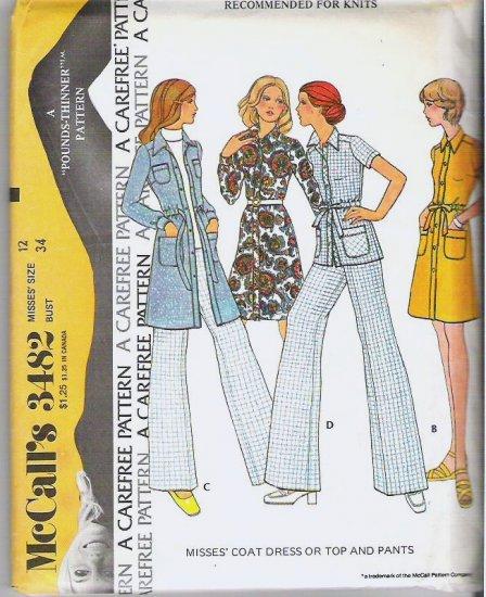 McCalls 1973 Uncut Pattern 3482 Sz 12 Coat Dress Top and Pants
