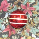 Vintage Glass Ball Ornament Red with White and Yellow Stripes