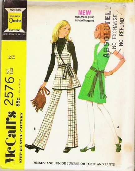 Uncut McCalls 1970 Pattern 2576 Sz 12 Jumper or Tunic and Pants Quickie