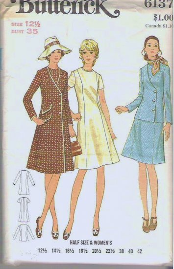 Uncut Butterick Pattern Vintage 6137 Dress and Coat or Jacket - Ladies Size 12 1/2