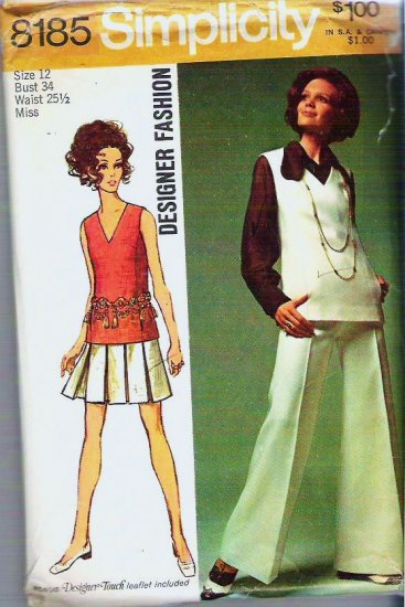 1969 Simplicity Pattern 8185 Misses Sz 12 Tunic Skirt Bell-bottom Pants and Blouse