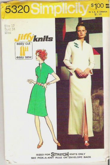 1972 Simplicity Pattern 5320 Size 12 Jiffy Knit Dress in Two Lengths