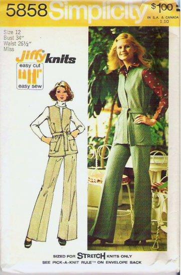 1973 Simplicity Pattern 5858 Sz 12 Safari Vest and Pants