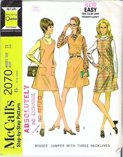 McCalls Pattern 2070 Misses Size 12 Jumper with 3 Necklines 1969