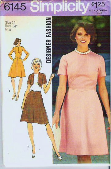 Simplicity Pattern 6145 Uncut 1973 Misses Designer Fashion Dress Size 12