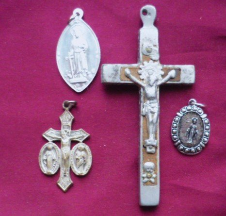 Four Religious Medallion and Cross Lot - Silver Tone