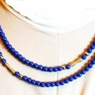 36 Inch Navy Necklace with Golden Spiral Spacers Vintage