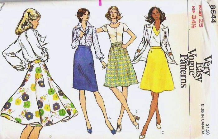 Uncut Vogue Pattern 8544 Waist Size 25 Misses Skirts c 1970s