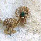 Faux Emerald Screw Back Earrings in Gold Tone Vintage