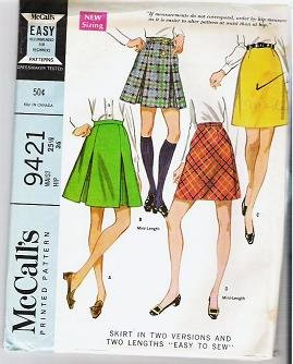 McCalls Easy Pattern 9421 - 1968 Skirt in 2 Versions and Lengths Waist- 25.5